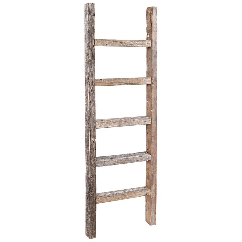 Decorative Ladder Reclaimed Old Wooden Ladder 4 Foot Rustic Barn Wood