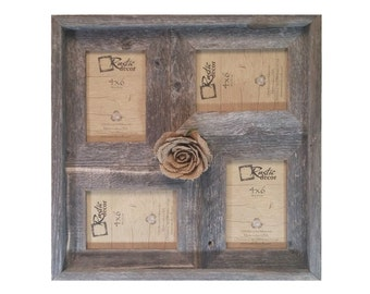 """4x6 -2"""" wide Multi-Direction Rustic Barn Wood Collage Frame(Holds 4-4x6 Pictures)"""