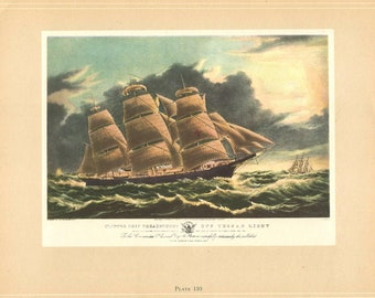 "NYC COLOR Litho 1974 Vintage Currier /& Ives CLIPPER SHIP /""NIGHTINGALE/"" BATTERY"