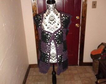 Black and Plum Crochet Vest
