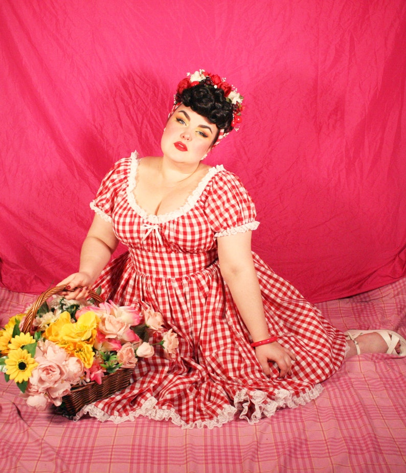 1950s Plus Size Dresses, Swing Dresses Peasant Dress Midi - Fabric Options $177.88 AT vintagedancer.com