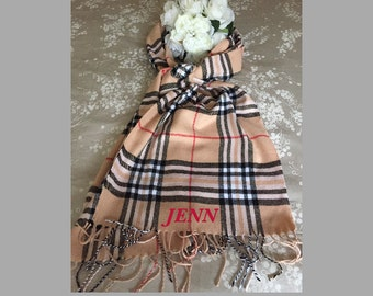 Personalized Plaid or Houndstooth Scarf - Monogrammed Scarf - Custom Scarf - Made for You Scarf - Personalized Gift - Made For You Gift