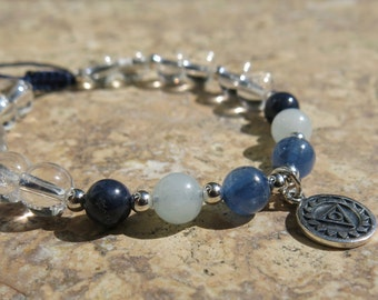 Throat Chakra Charm Bracelet with Gemstones and Sterling Silver - Vishuddha. Sapphire, Aquamarine, Kyanite and Tourmaline. Adjustable
