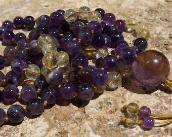 Ametrine, Amethyst and Citrine 10mm mala, Buddhist prayer beads. Reduce stress & tension, energising, joyful, adjustable mala beads