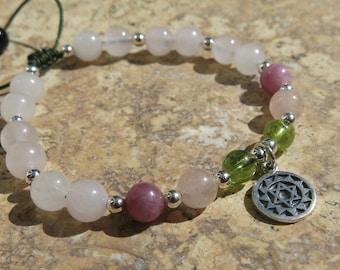 Heart Chakra Charm Bracelet - Anahata - Gemstone & Sterling Silver. Ruby, Morganite, Peridot, Rose Quartz and Tourmaline. Adjustable