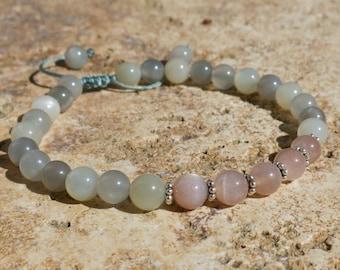 Moonstone 6mm 27 bead Mala with Sterling Silver -  - Adjustable prayer beads, Tibetan mala