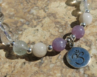 Crown Chakra Charm Bracelet - Sahasrara - Sterling Silver and Gemstones. Clear Fluorite, Beryl, Purple Sapphire and Tourmaline. Adjustable