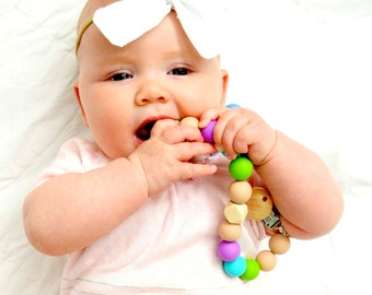Silicone beads pacifier clip, chunky beads binky clip, dummy teether clip, soother clip, toy clip, chew toy, toy holder, baby shower gift