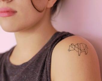 2 Origami Bear Temporary Tattoos