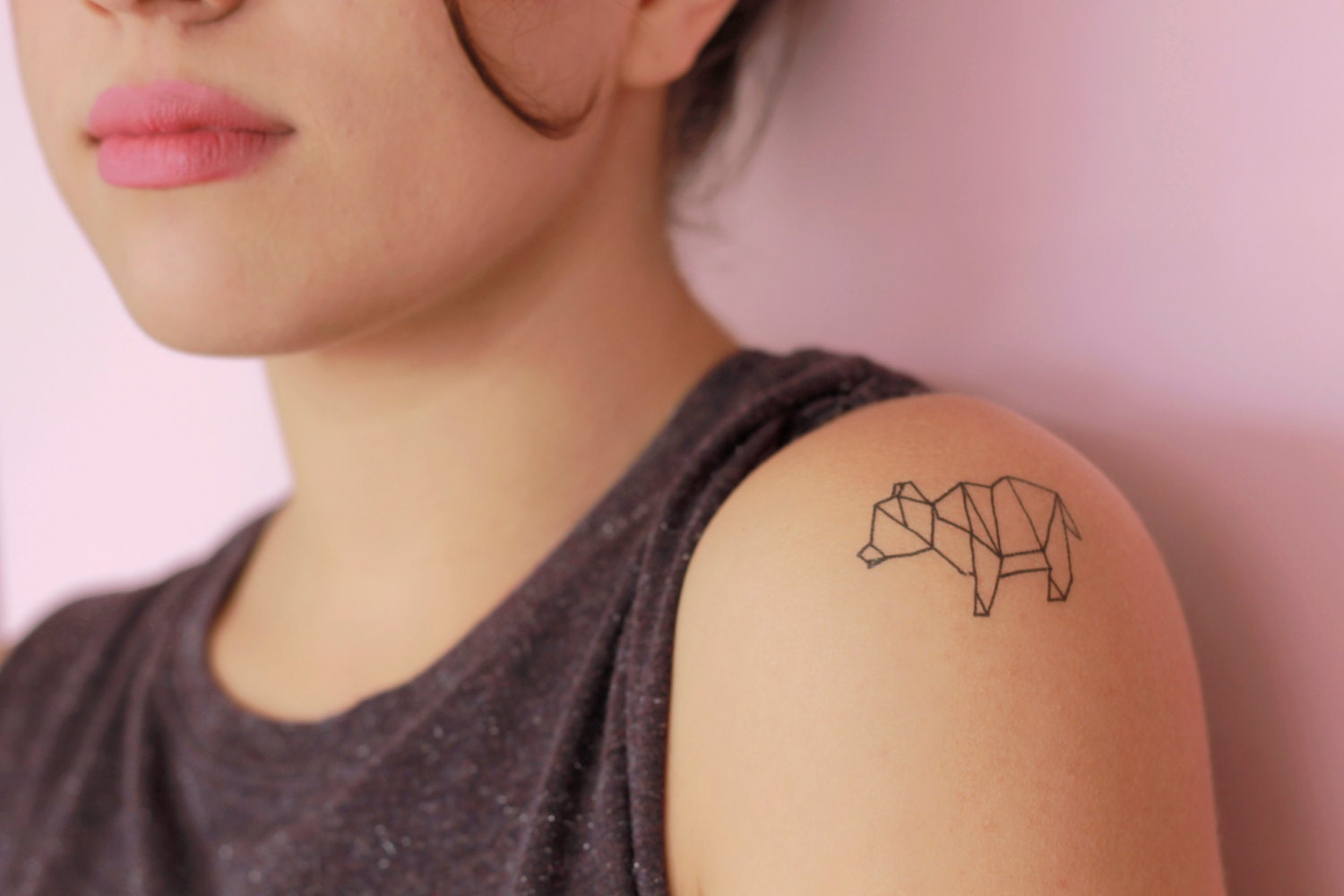 2 Origami Ours Tatouages Temporaires Etsy