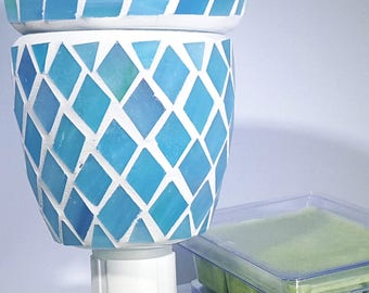 Electric Mosaic Wax Melter Tart Warmer Small Night Light Size Includes 3 Sample Wax Melts  Available In Several Solid Colors Home Fragrance