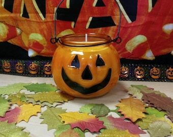 Spiced Pumpkin Scented Jack O' Lantern Candle 8 oz. Limited Edition Holiday Fall Halloween Candle