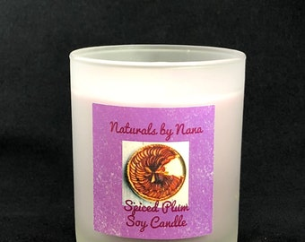 Soy Candle Spiced Plum Fragrance  7 oz. Frosted Glass Container Also Available In Any Of Our 600 + Fragrances 60 Plus Hours Of Burn Time