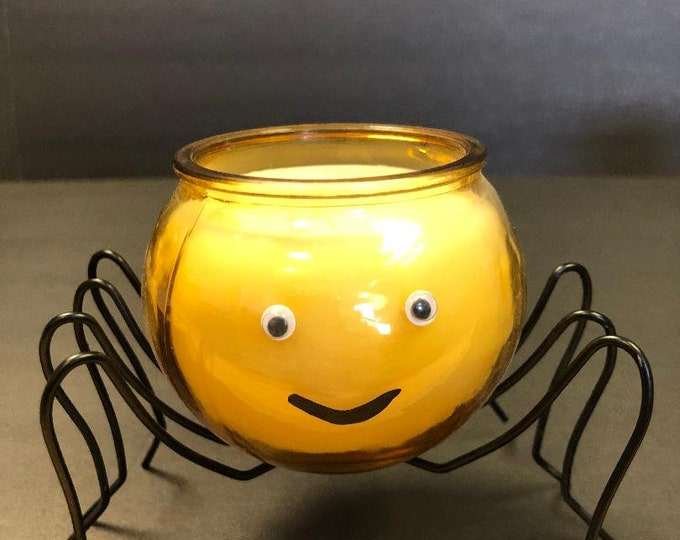 Featured listing image: Candy Corn Fragrance Soy Candle Along Came A Spider 8 oz. Perfect For Halloween  Glass Jar Sits Atop Metal Legs Complete With Googly Eyes