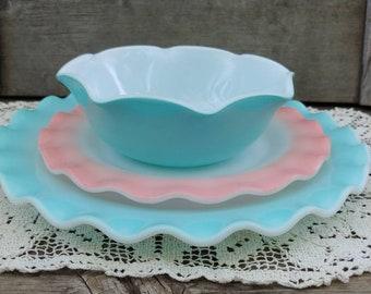 Old Vintage Moderntone Hazel Atlas Pastel Coral Pink Footed Sherbet Milk Glass