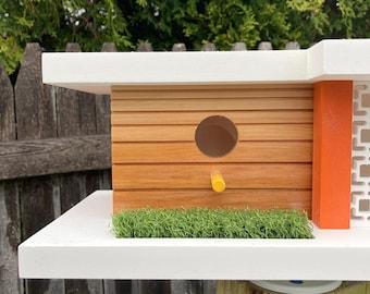 Indio Birdhouse - Orange - Midcentury/Modern Design Architecture Bird House - Made in Vermont USA by Pleasant Ranch