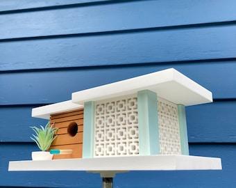 Indio Birdhouse - Light Aqua - Midcentury/Modern Design Architecture Bird House - Made in Vermont USA by Pleasant Ranch