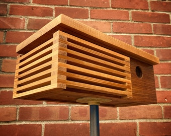 Wurster Birdhouse - Cedar and Angelique Mahogany - Midcentury/Modern Style Architecture Bird House - Made in Vermont USA by Pleasant Ranch