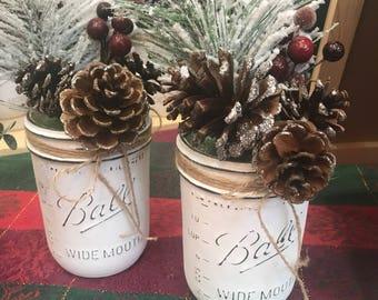 Christmas Mason Jars Set of Two