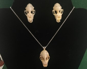 C-15  Taxidermy Bat Skull Necklace Earrings jewelry Set Halloween gothic macabre