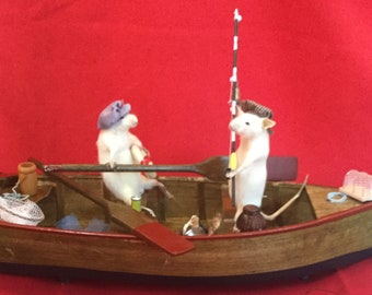 Z-9A   2 Taxidermy Anthropomorphic Mice Mouse fishing boat trip w/ real fish!