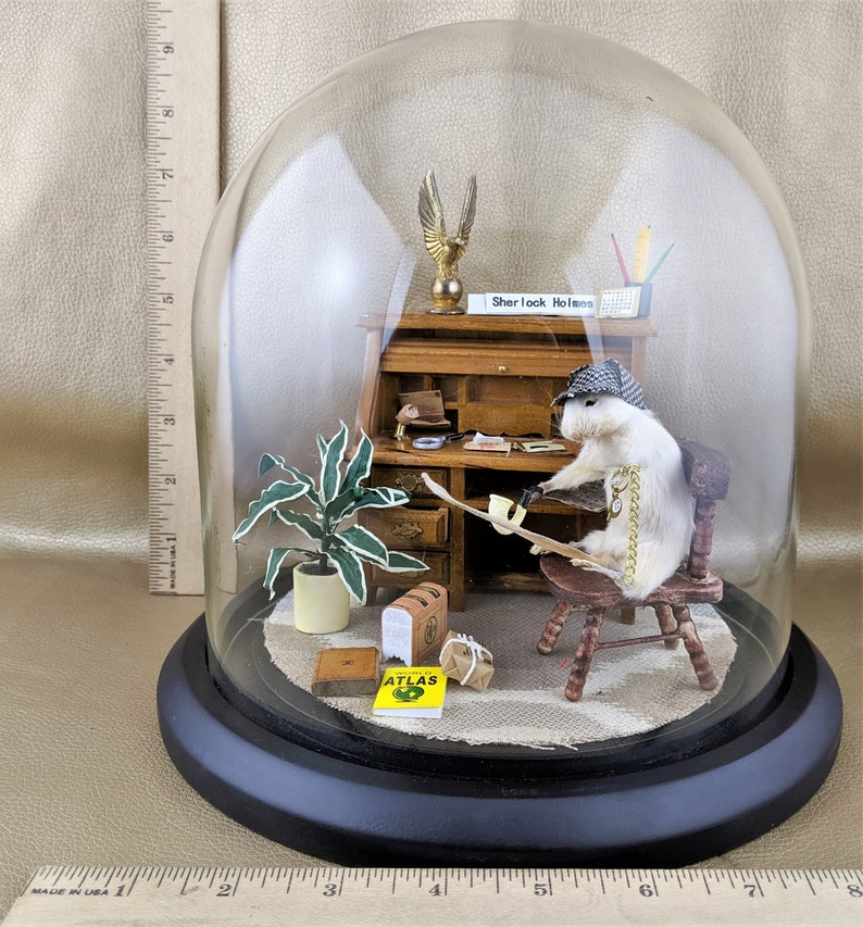 S21 Anthropomorphic Taxidermy Sherlock Holmes Mouse Glass dome Display collectible curiosity cabinet oddity oddities