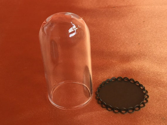 """7D# Miniature Glass Dome Metal Base 2/"""" x 1 1//8/"""" dollhouse display collectible"""