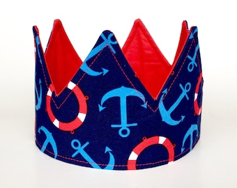 Simple Nautical birthday crown 1st birthday crown boy birthday hat first birthday crown photo prop hat cake smash outfit dress up gift