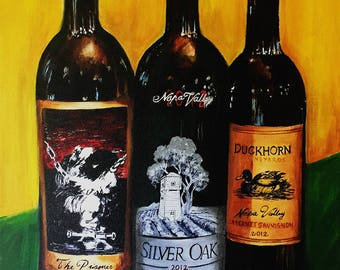 Wine painting Silver Oak ,Prisoner and Duckhorn limited edition canvas print, wine cellar art, kitchen art , gift for men, wineart