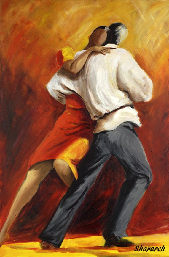 Tango Dancers Painting Argentine Tango Canvas Print Couple Etsy