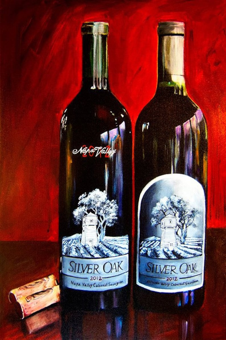 b3acfa835 Wine bottle painting Silver Oaks of Napa Valley Giclee print