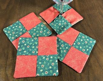Christmas Wine Glass Coaster Set, Metallic Fabric Coasters, Set of 4 Cotton Coasters, Green Red Coasters, Reversible Handmade Coasters