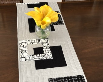 """Modern Quilted Table Runner, 14""""x59"""" Black White & Grey Wallhanging, Reversible Tablerunner, Modern Table Decor, Modern Quilted Table Runner"""