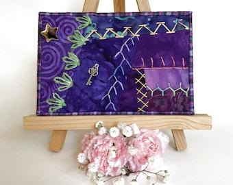 Crazy Quilt Hand Embroidered Postcard, Purple Fabric Postcard, Fibre Art Postcard, Handmade Textile Art Postcard
