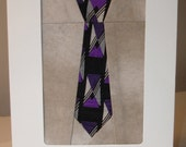 Necktie Greeting Card - Fibre Art Fabric Card