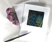 Hand Embroidered Greeting Card, Crazy Quilt Greeting Card, Fiber Art Fabric Greeting Card, One of a Kind Handmade Card, Teal Textile Art