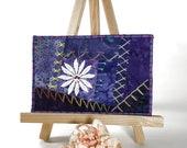 Purple Fabric Postcard, Crazy Quilt Hand Embroidered Postcard, Fibre Art Postcard, Textile Art Postcard