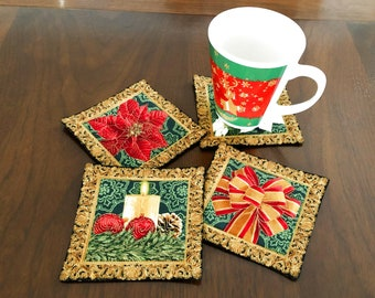 Christmas Quilted Coasters, Set of 4 Holiday Coasters, Black and Gold Reversible Fabric Coasters, 4 Handmade Mug Rugs, New Year Celebration