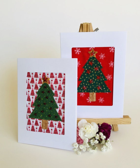 Christmas Greeting Cards.Fabric Christmas Tree Card Applique Tree Greeting Card Quilt Block Christmas Card Textile Art Christmas Card Handmade Fiber Art Card