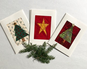Set of 3 Holiday Greeting Cards, Fabric Greeting Cards, One of a Kind Hand Stitched Christmas Cards, Fibre Art Textile Greeting Cards