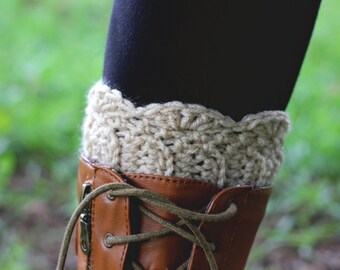 Tan  Shell Stitch Crochet Boot Cuffs