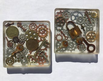 Steampunk Junk Drawer Coasters - Set of 2