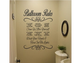 Bathroom Wall Quote Sign Vinyl Decal Sticker   Bathroom Rules Decal Sink  Multiple Sizes Kitchen Wall Bathroom Lettering Wash Your Hands