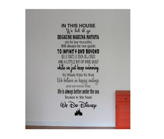 Disney Wall Quote decal Sign Vinyl Decal Sticker love disney mickey minnie disney land disney world living room family rules
