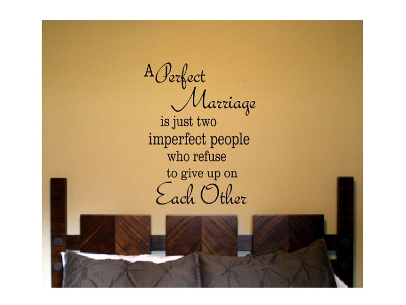 marriage Wall Quote Sign Vinyl Decal Sticker Perfect marriage husband and wife love newleyweds bedroom decal family verse living home