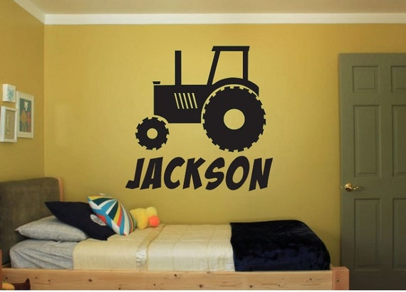 Tractor Vinyl Wall Decal Sticker - Large Farm kids bedroom big fun room  nursery animals custom truck kid boy car train child personalized
