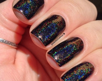 Soska. Black linear holo nail polish. (15 mL, .5 oz)