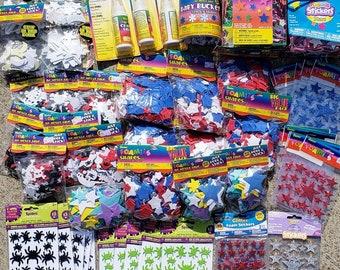 53 pc Foam Stickers, Shapes, Glue Discount Lot - assorted colors - Kids Craft Foamies 2mm Foamie EVA Foam
