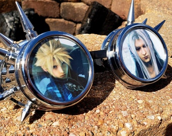 Final Fantasy VII Goggles + 10 Free Spare Lenses - Chrome Spike Cosplay Video Game Rave Cyber 7