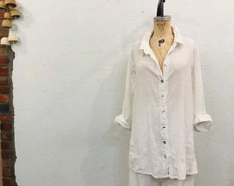 abb6dac3df48c Vintage White Oversized Cotton Gauze Blouse